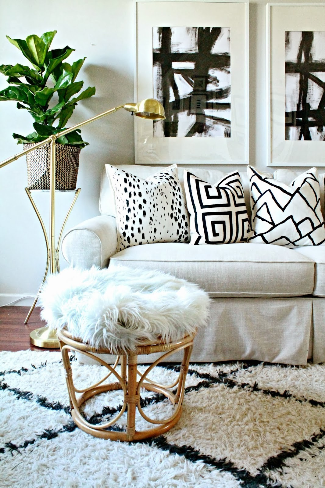 white fur and rattan stool