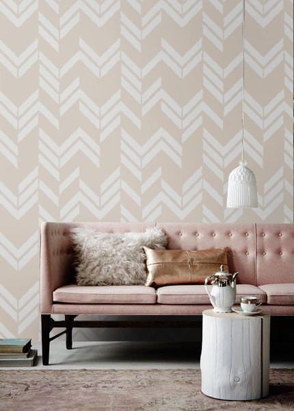 white and beige herringbone print wallpaper