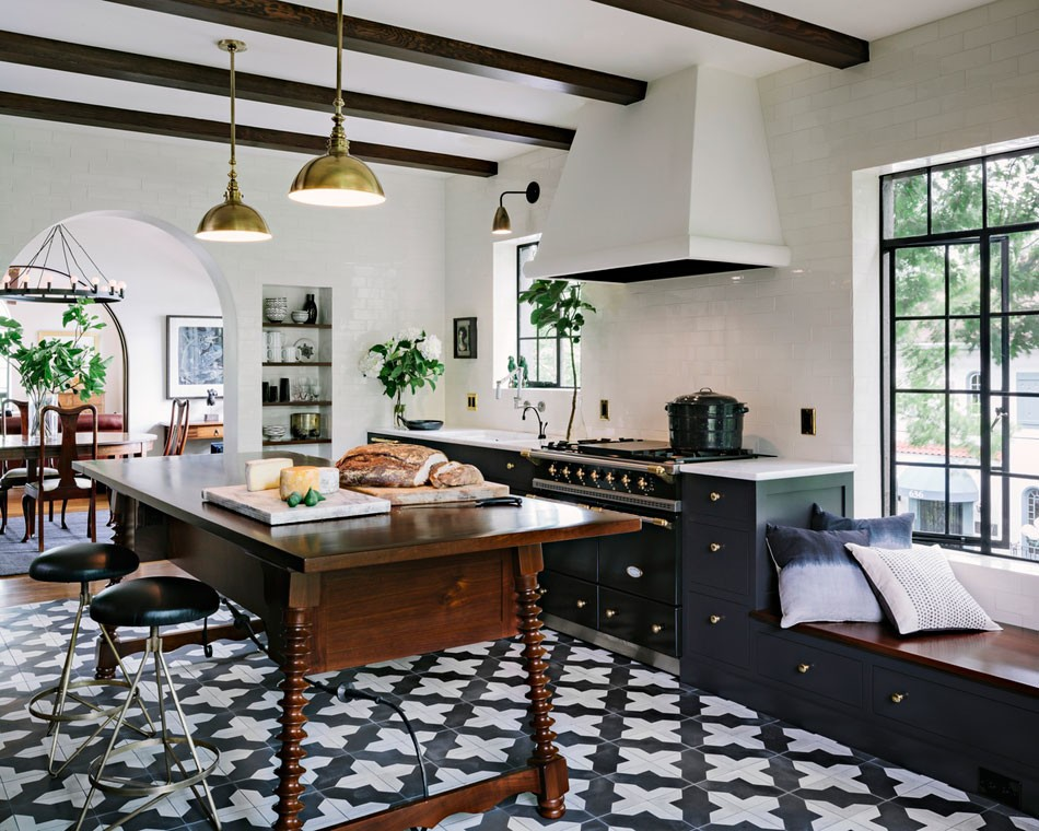 black and white moroccan tile kitchen design
