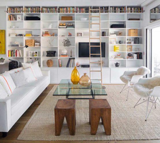 family room white sofa eames chair