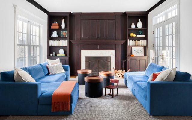blue sofas den