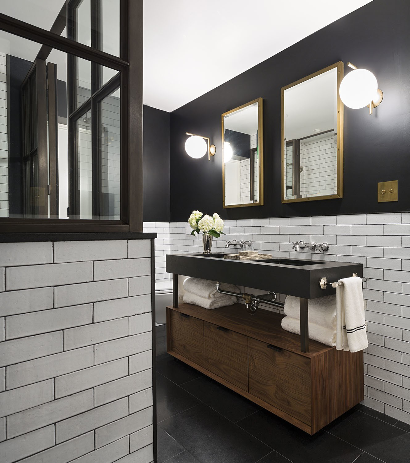 rectangle gold mirror dark bathroom