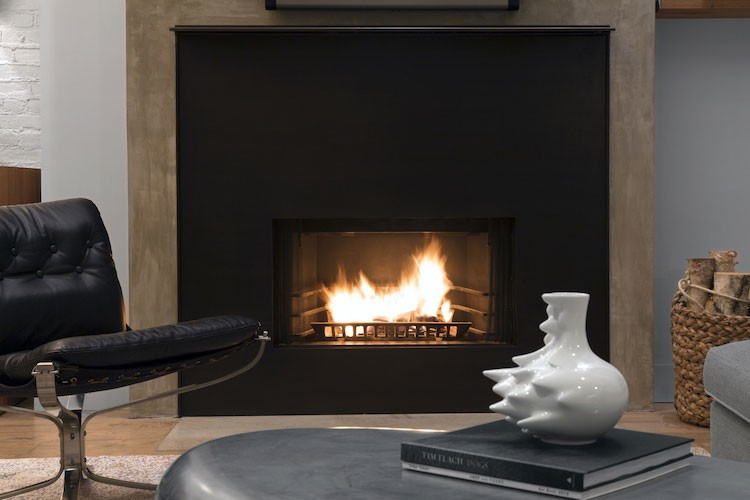 black cement iron fireplace