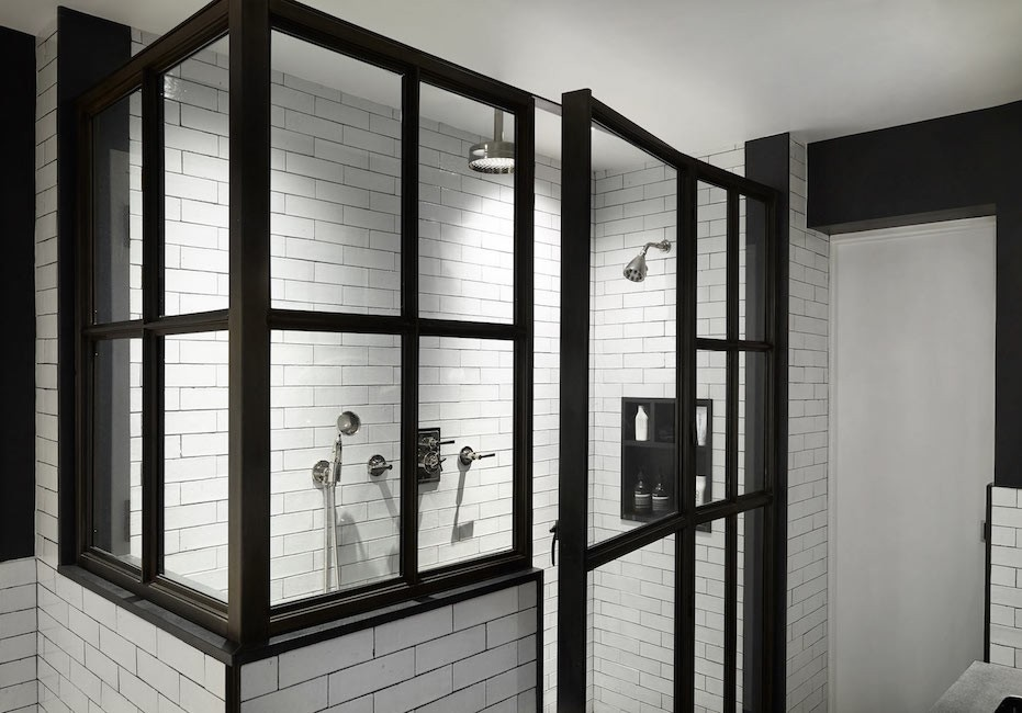 glass iron shower white handmade subway tile
