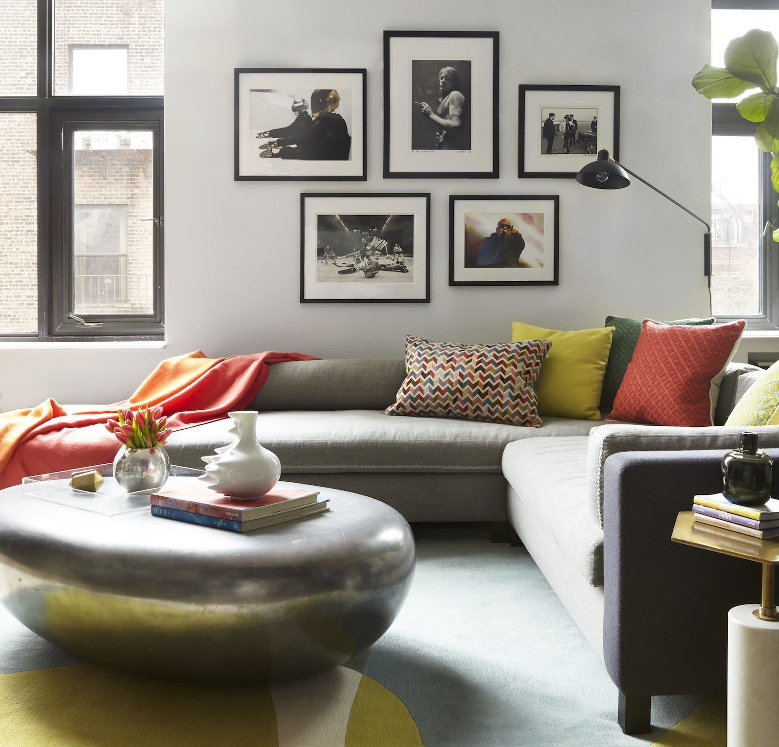 living room gallery wall grey sectional