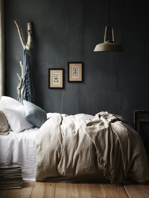 Dark Gray Bedroom Scandinavian Style
