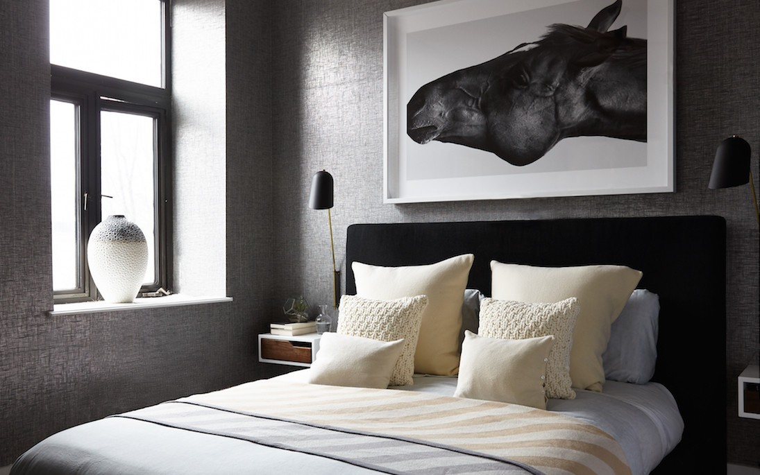 moody grey textured bedroom