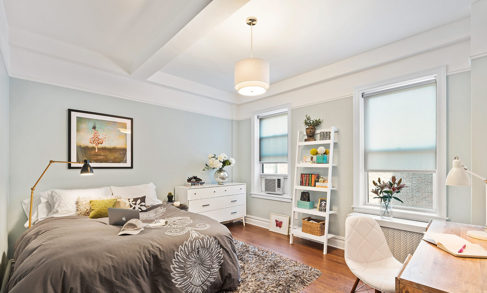 teenager's bedroom classic gray with leaning bookcase