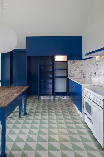 geometric cement tile blue kitchen