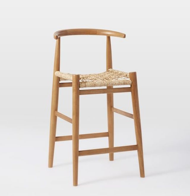 wooden counter stool woven-seat john vogel