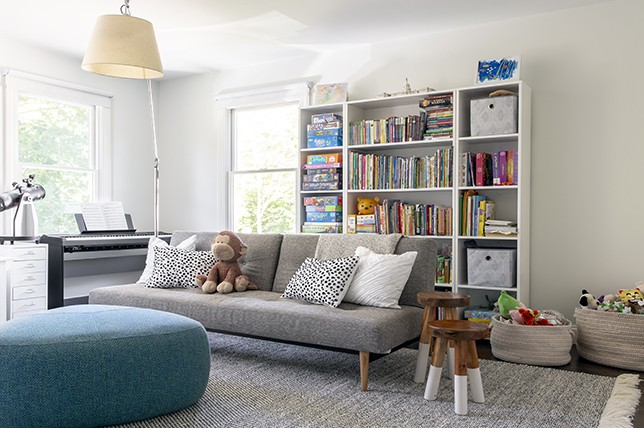 kids room gray sofa