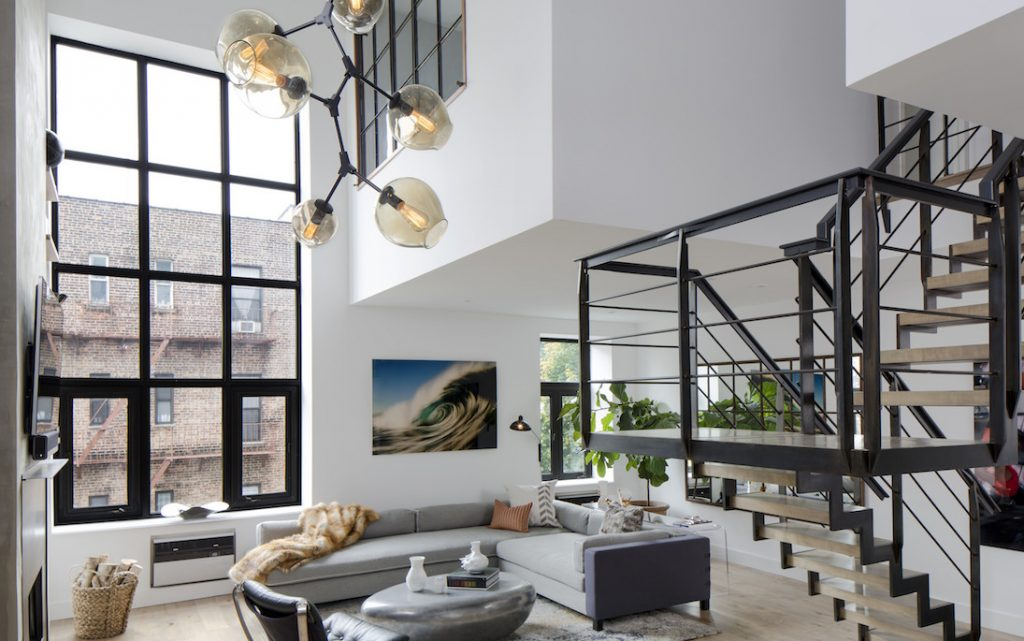 soho loft remodel living room