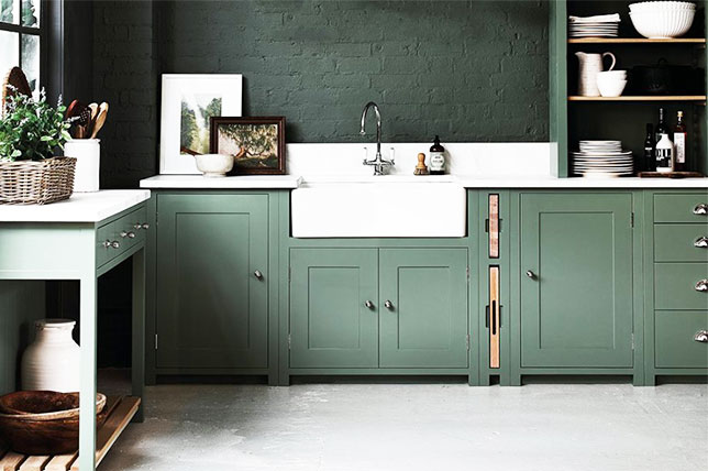 sage green paint cabinets kitchen decor