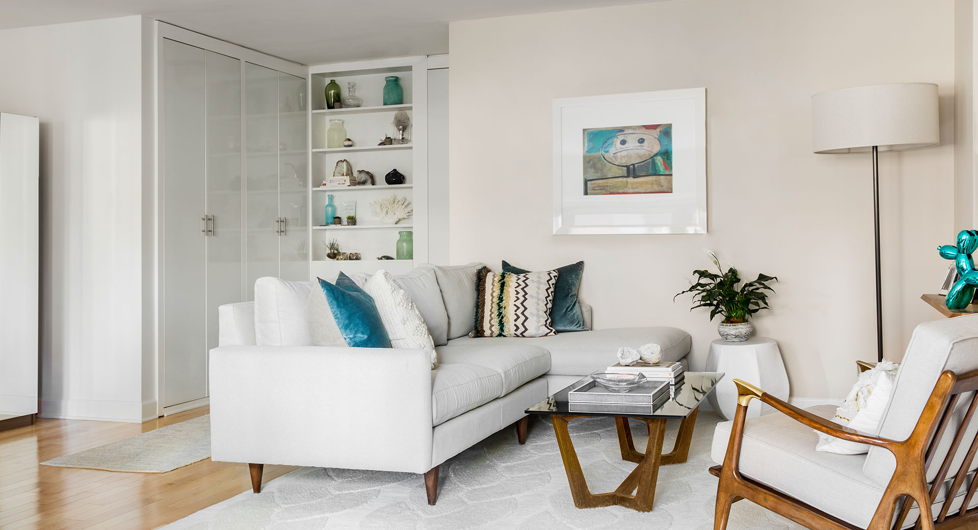 White Living Room Transformation After