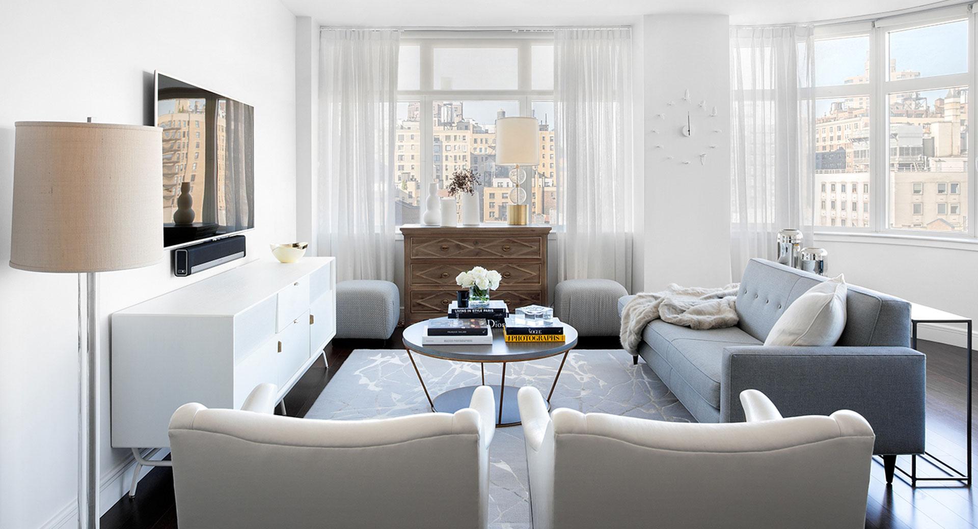 White Living Room Design After