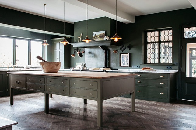 dark green kitchen trends