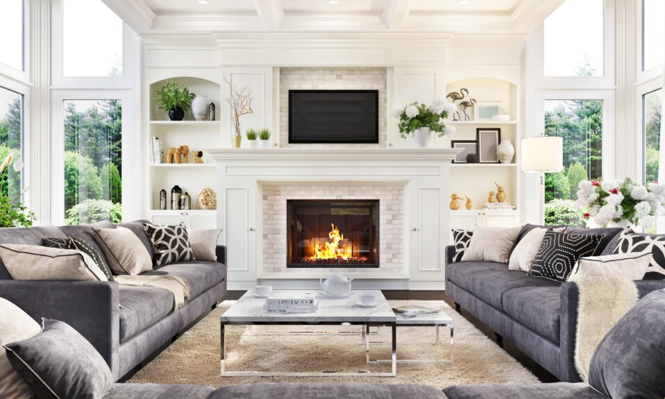 Luxurious interior design living room and fireplace
