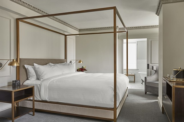 modern gold canopy bed