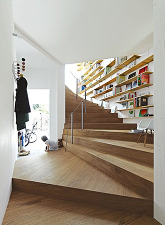 built-in bookshelves staircase ideas