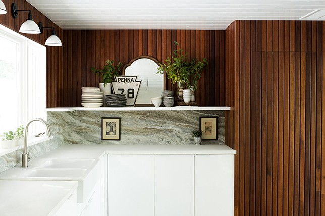 modern kitchen wall decor wood paneling