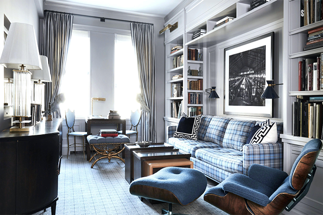 blue home library ideas