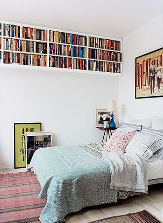overhead high shelving bedroom storage ideas