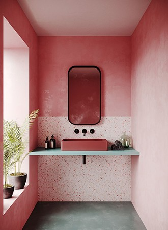 pink ombre bathroom paint colors