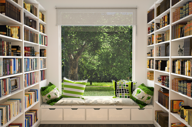 bright home library ideas