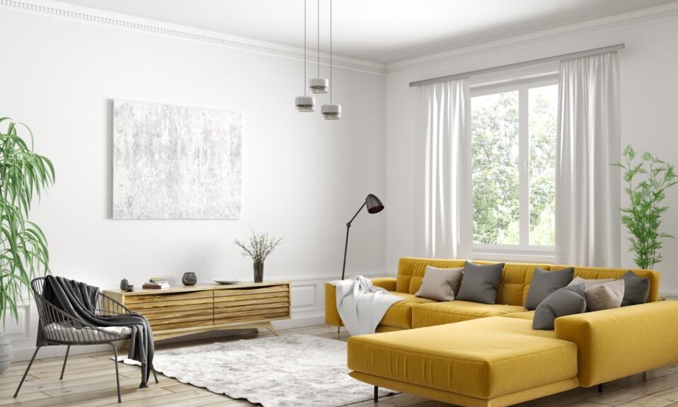 Interior design of modern scandinavian apartment