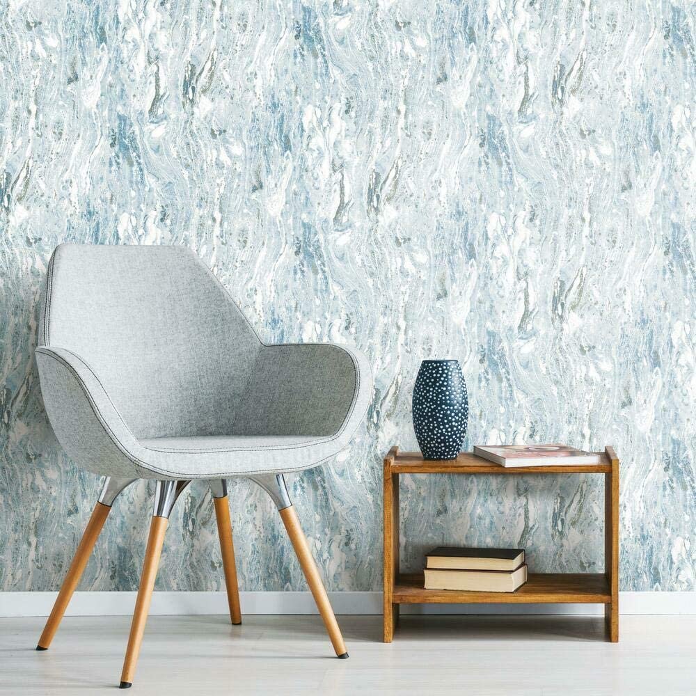 Marble Seas Metallic Blue Peel and Stick Wallpaper