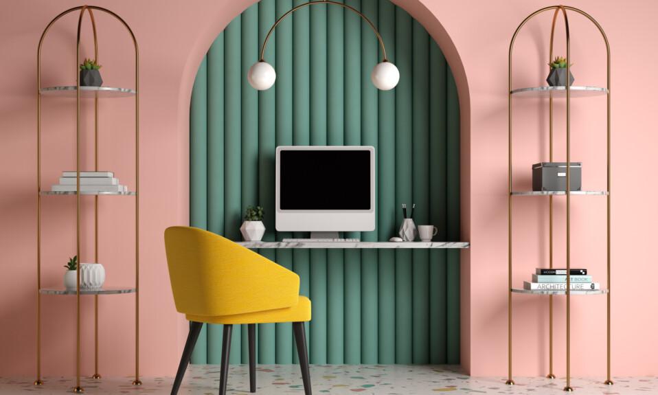 Memphis style conceptual interior Home office