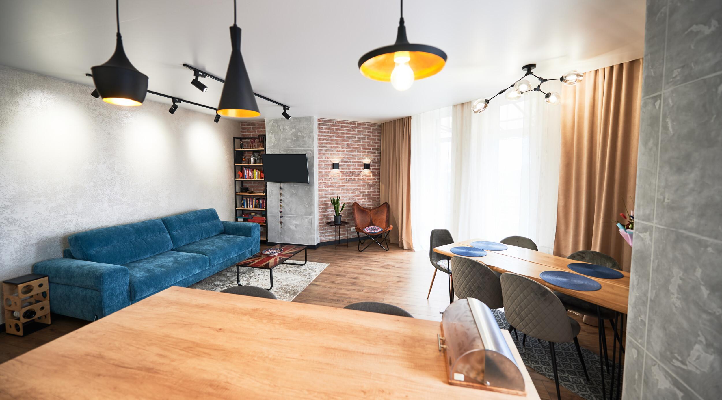 angled walls living room