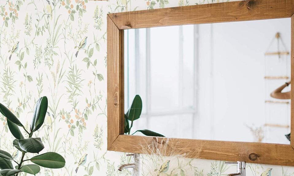 bathroom traditional floral wallpaper
