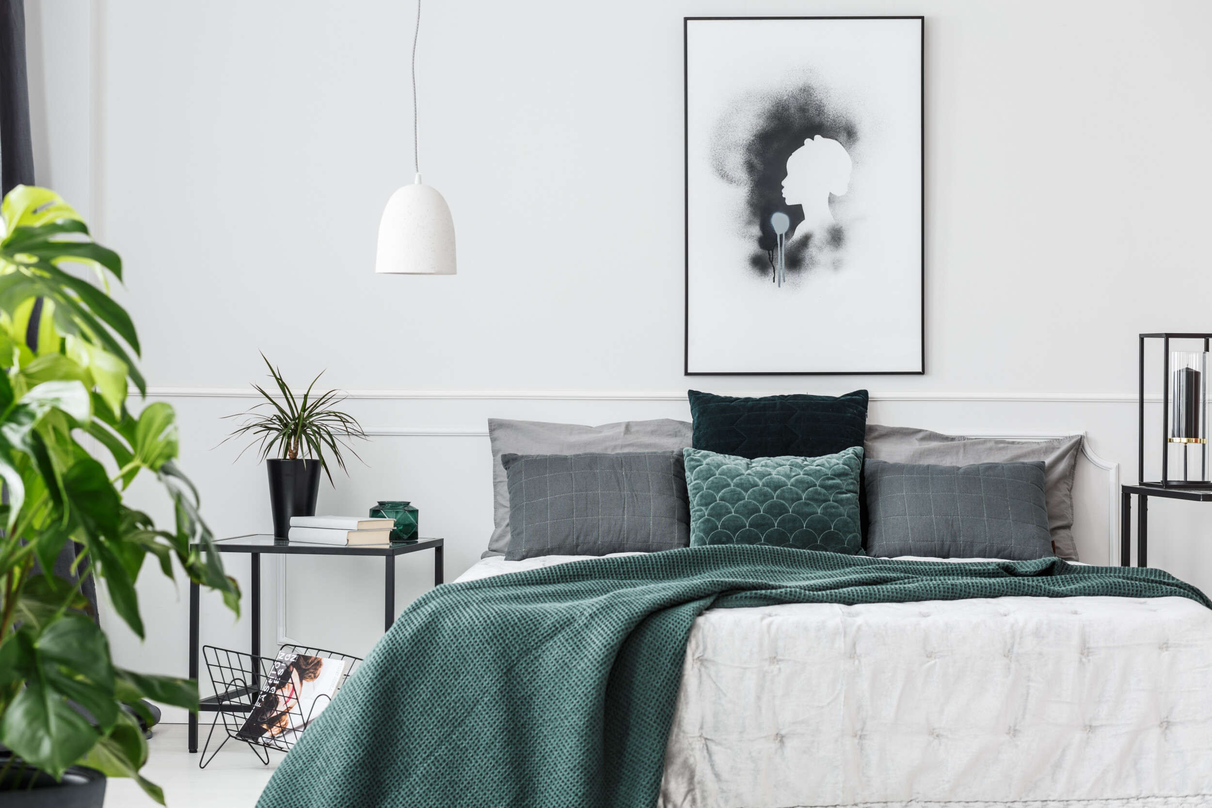 bedding with angled blanket