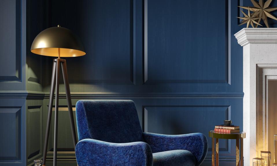 blue art deco interior