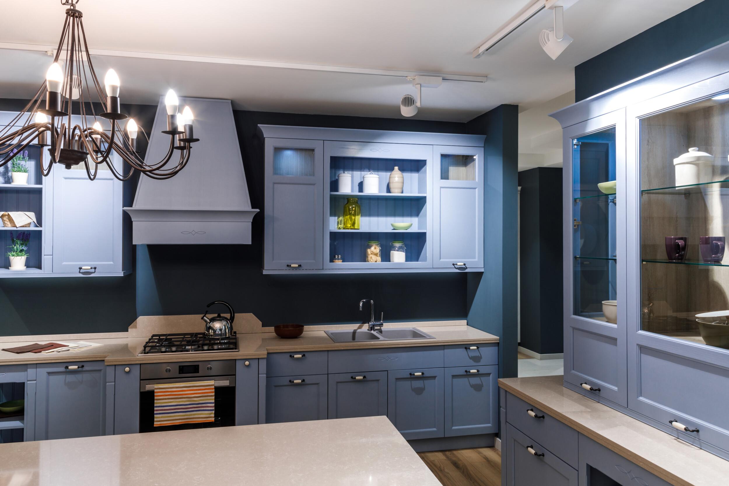 bold inky blue kitchen