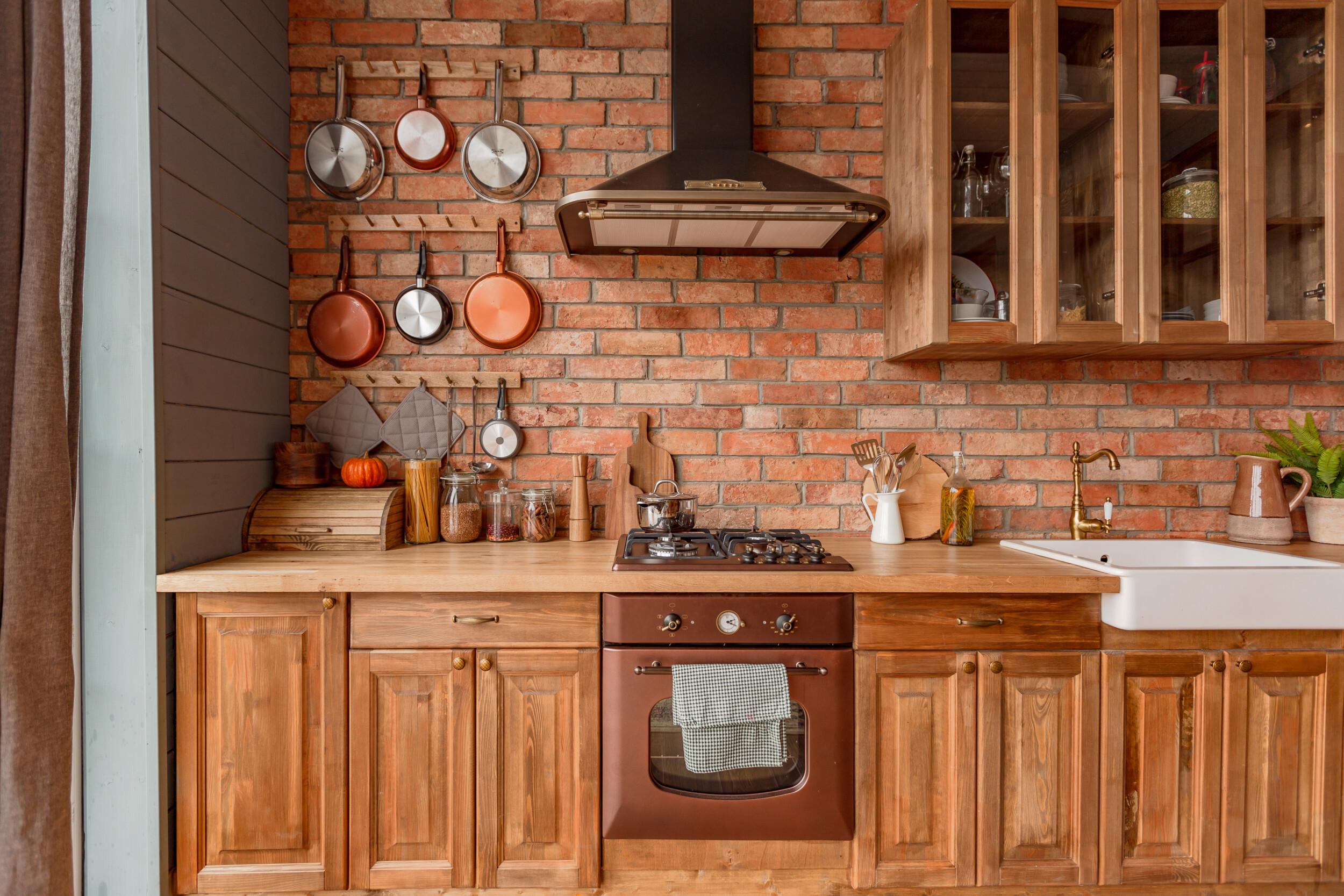brick wall country kitchen