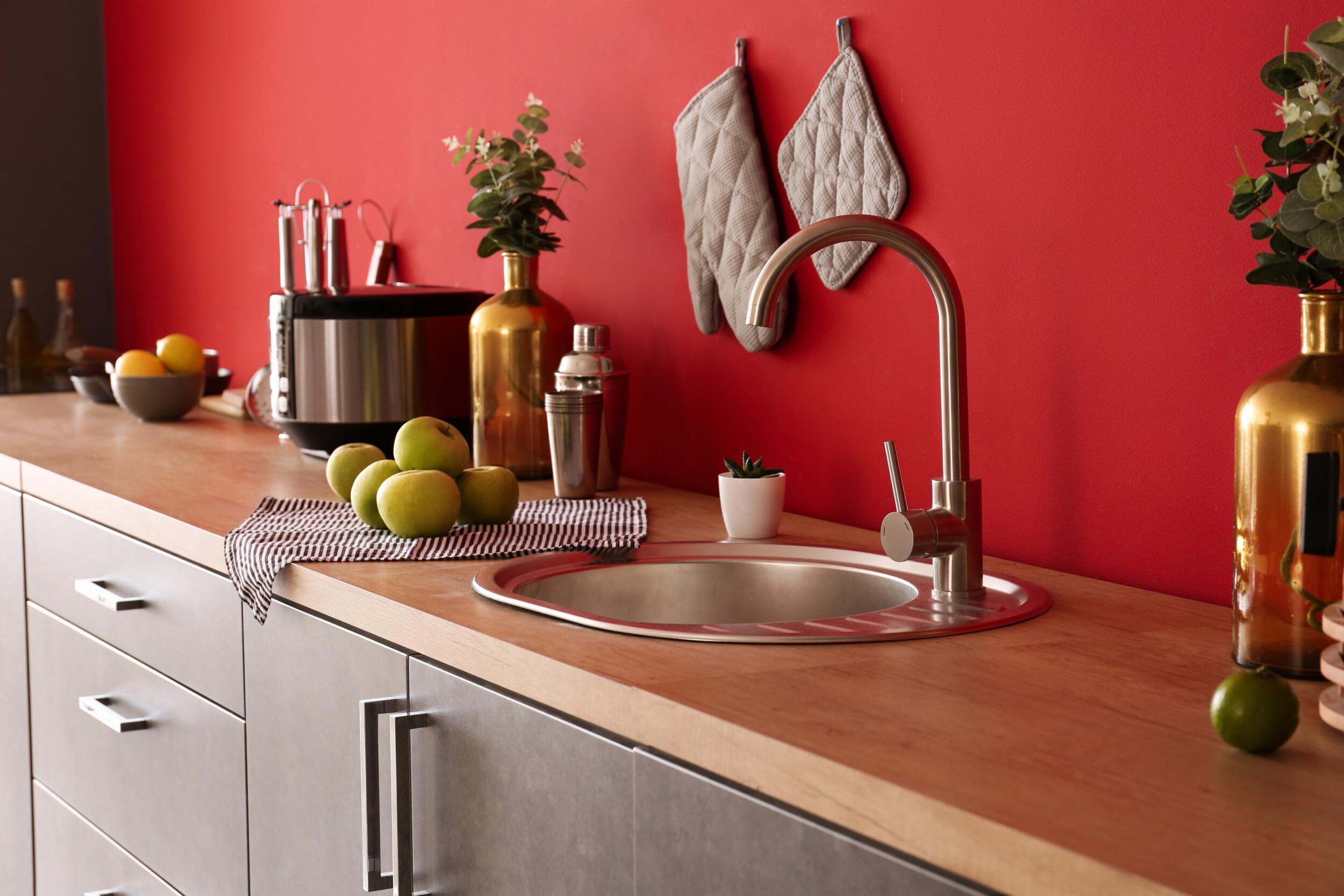 bright red kitchen interior