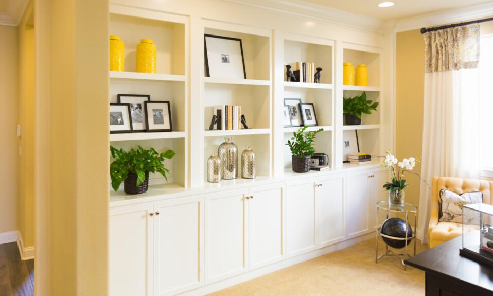 built in shelves in living room