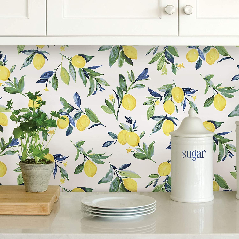 classic fruit wallpaper kitchen