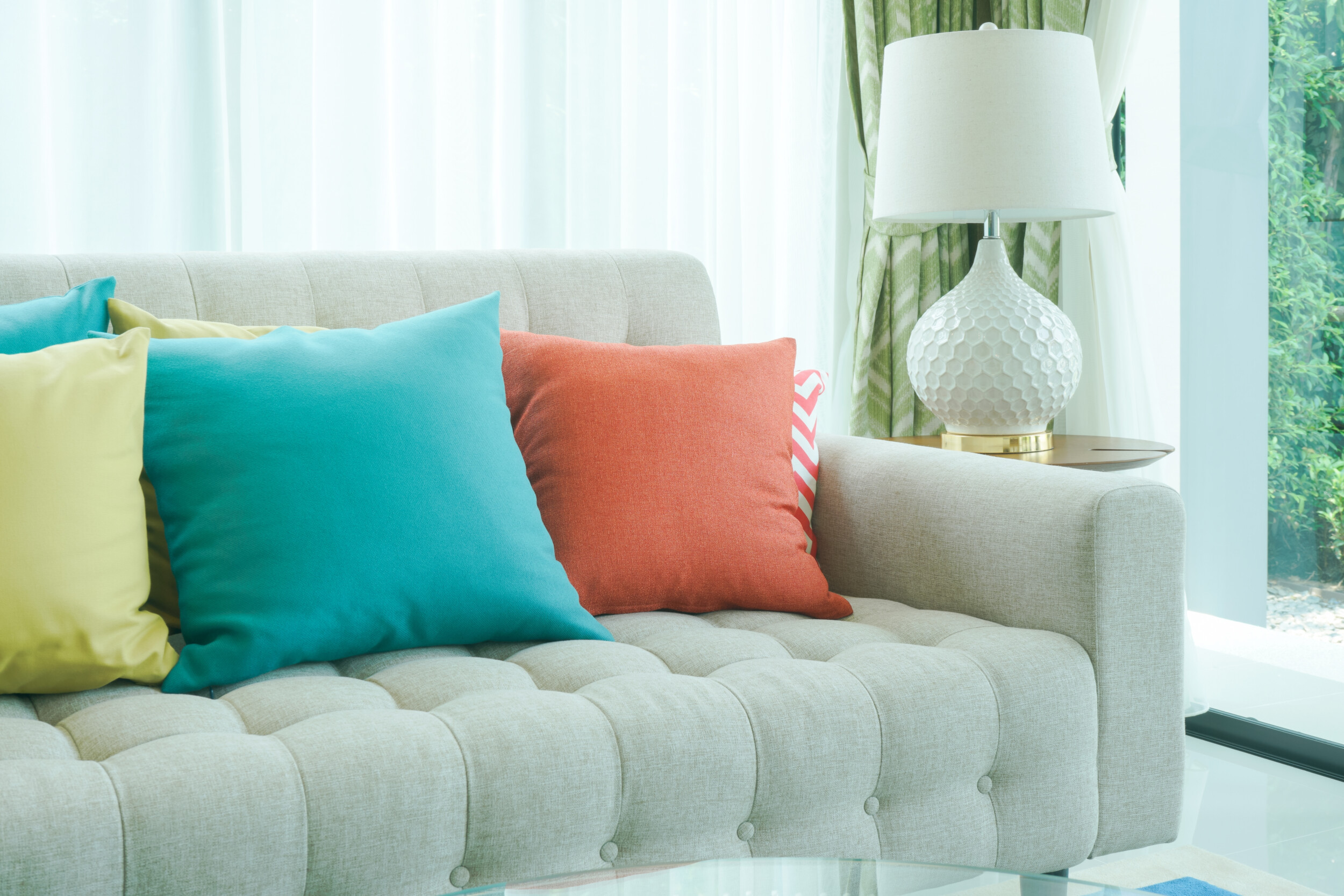 colorful pillows sofa living room