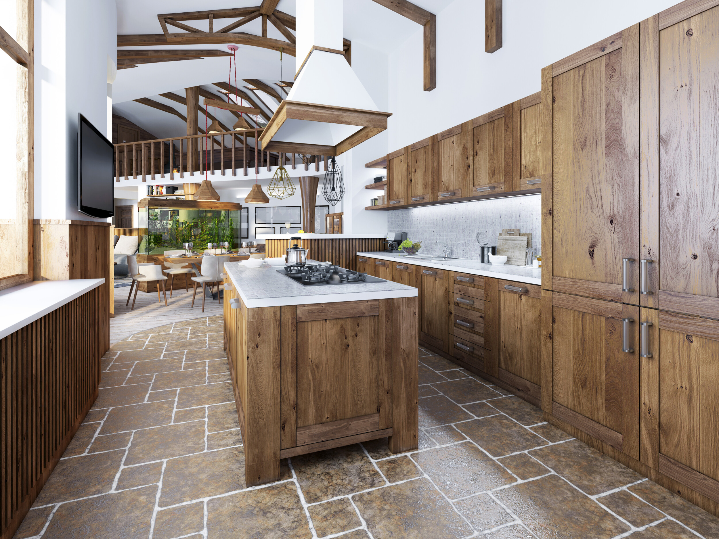 country kitchen stone flooring