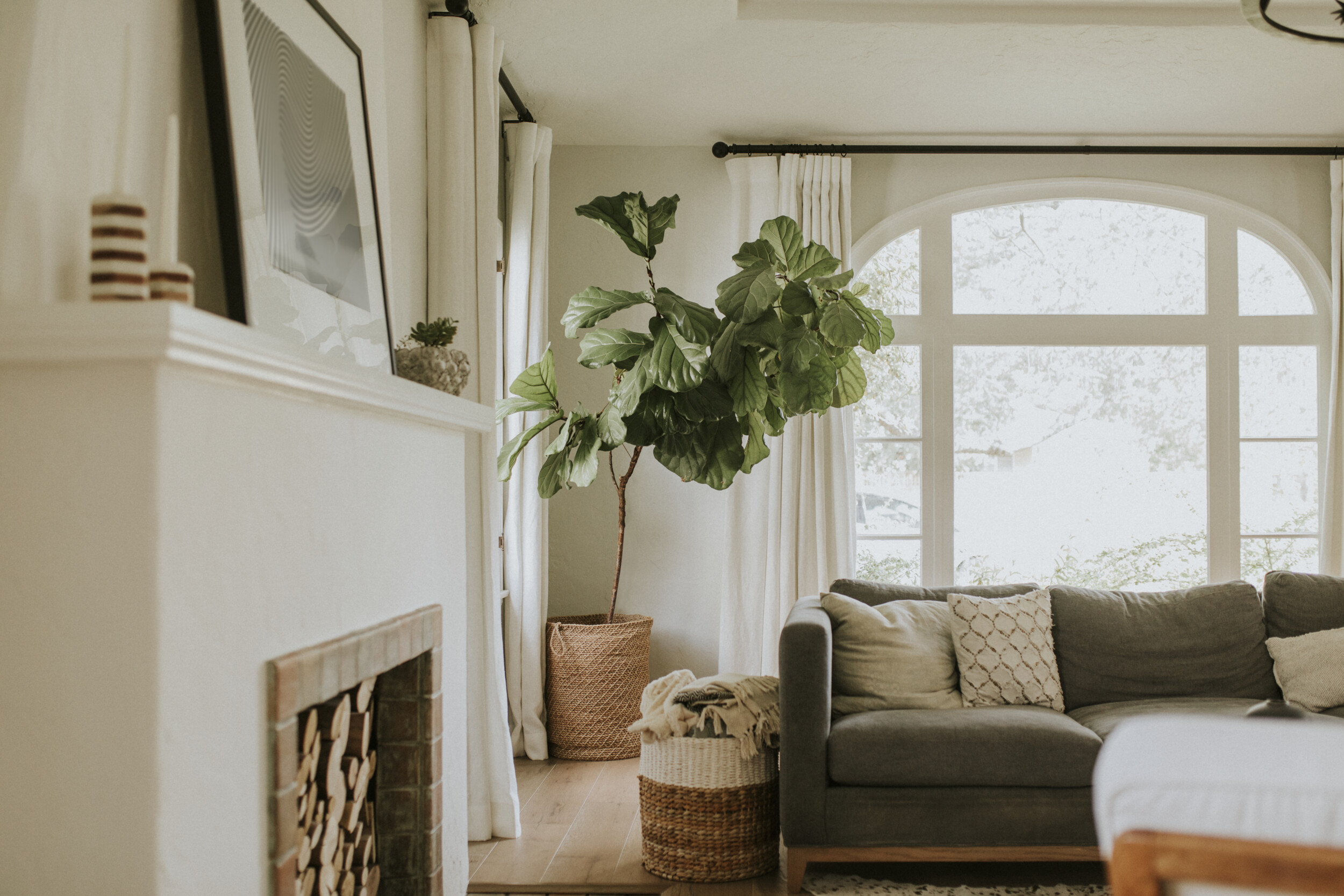 Cozy home living room with fireplace