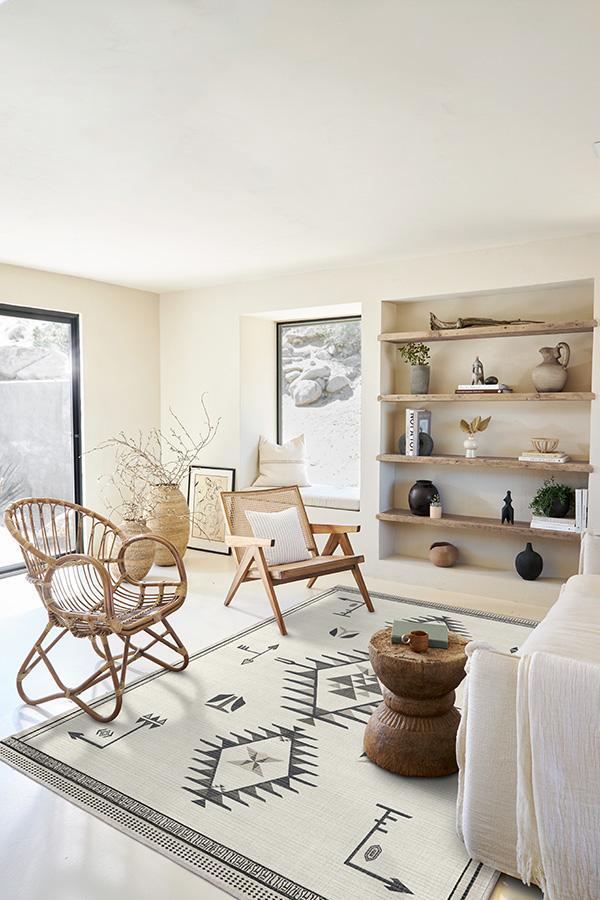 cream rug in modern living room