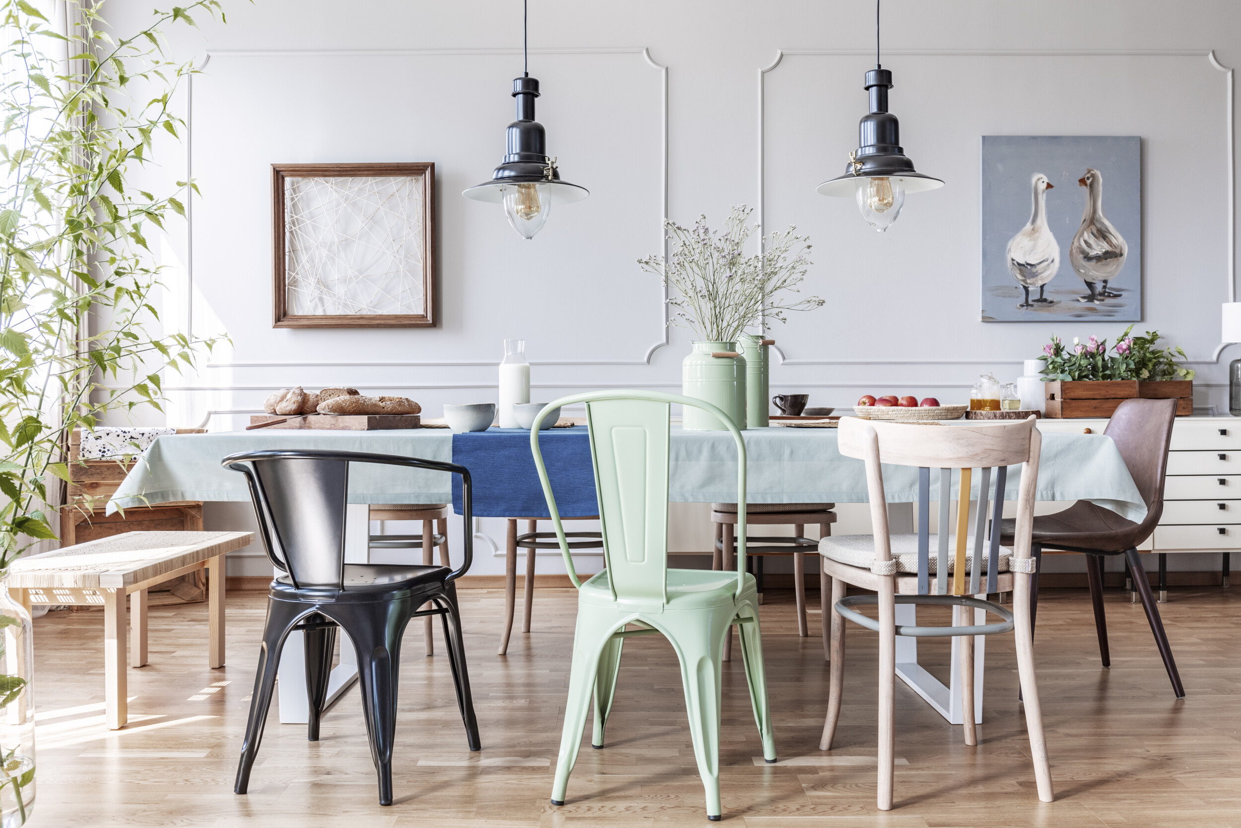 eclectic dining room wooden table
