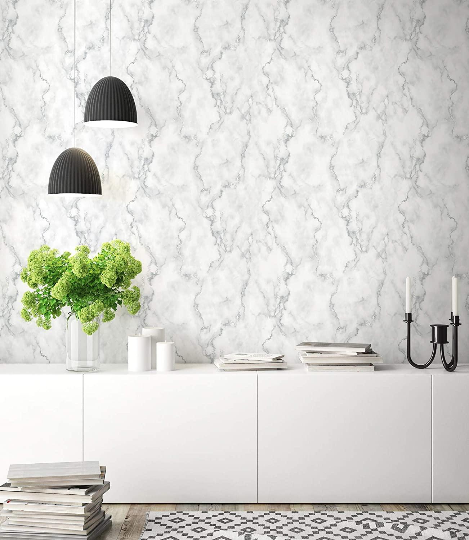 faux marble wallpaper idea