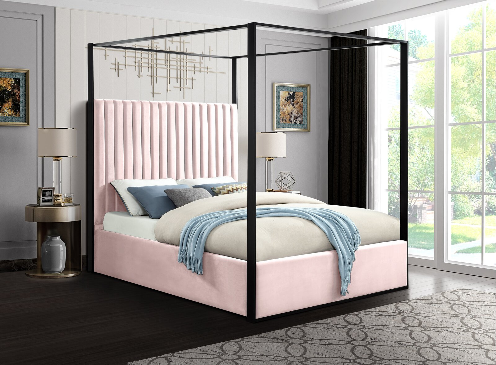 four poster canopy pink upholstered bed
