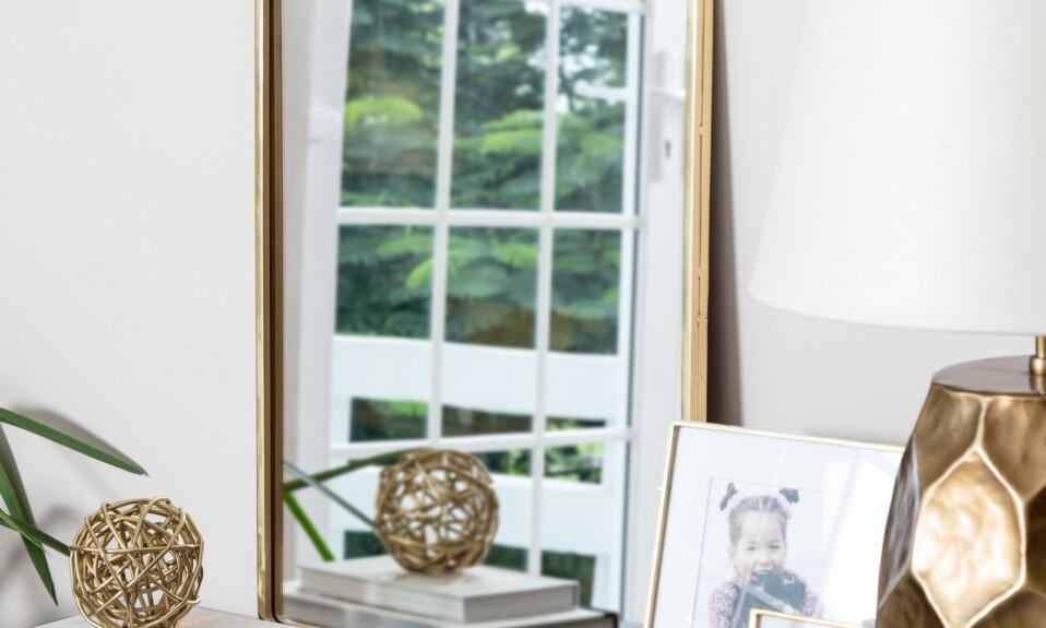 golden frame mirror decor