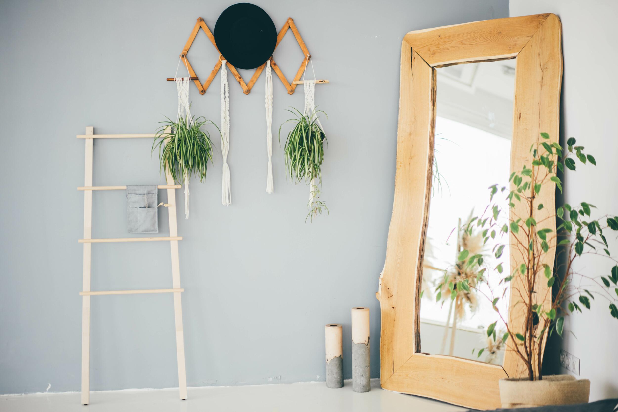 hallway interior with handmade wooden mirror