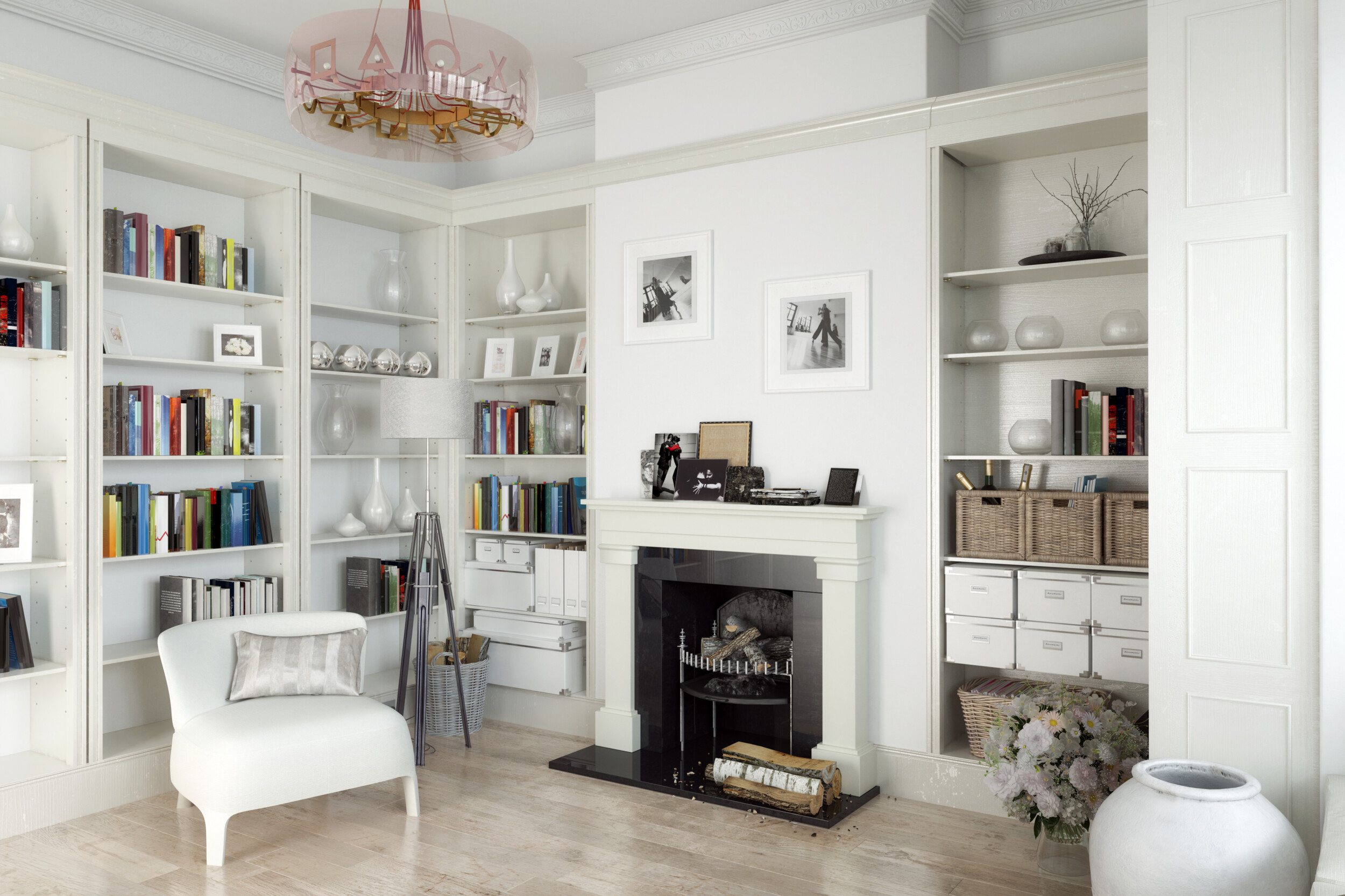 home library with decorations